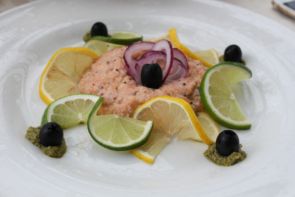 One of my personal favorites; unlike your traditional salmon tartare, this mixture of salmon and spices was rather thick and its flavoring was light and zesty, which paired along nicely with their homemade slices of multigrain toast and pesto.