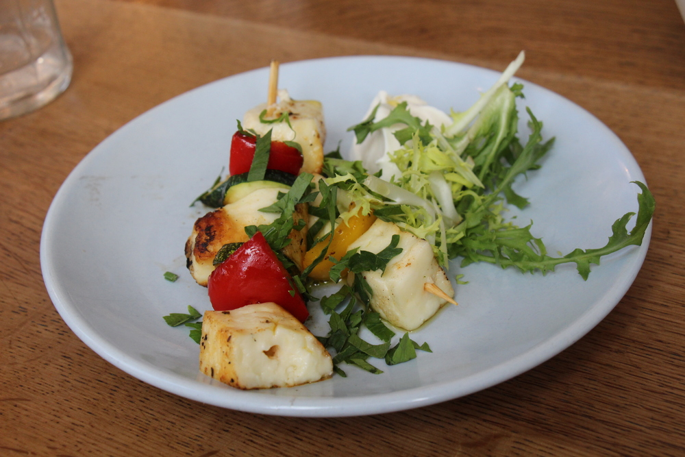 Halloumi Skewers - grilled cheese and charred red peppers