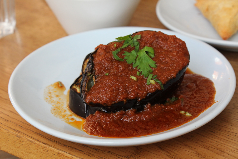 Grilled Aubergine with Garlic Tomato Sauce