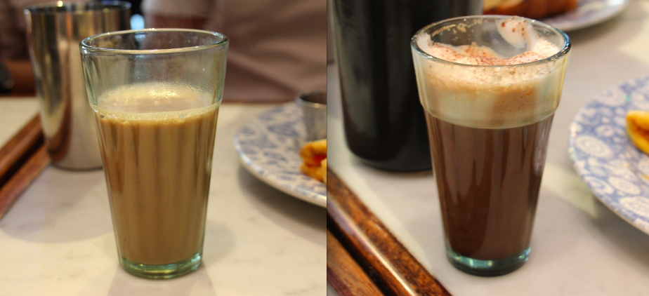 Left: House Chai; Right: Chocolate Chai