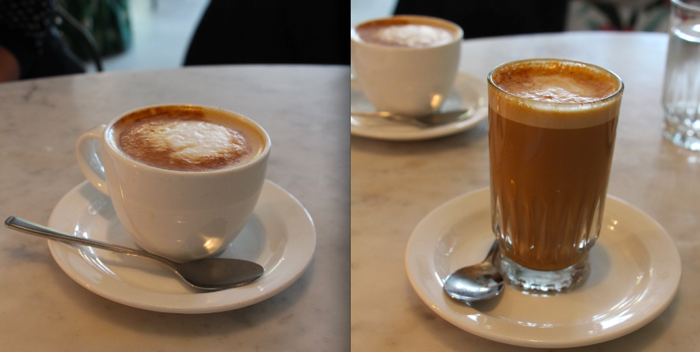 Left: cappuccino; Right: flat white