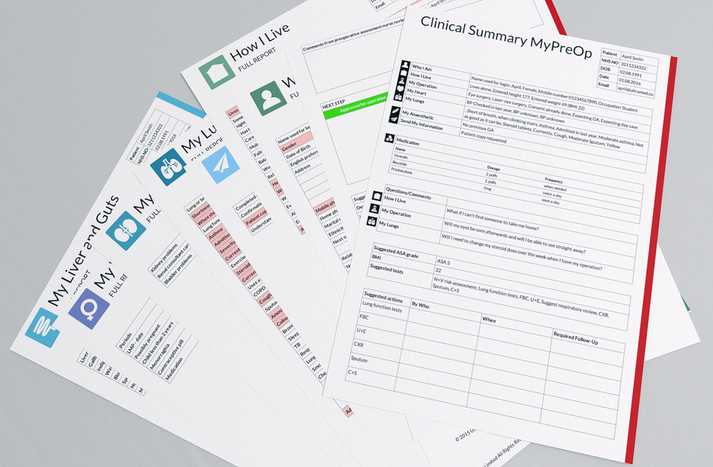 Clinical Summary Reports - Online Preoperative Assessments, sent straight to the hospital