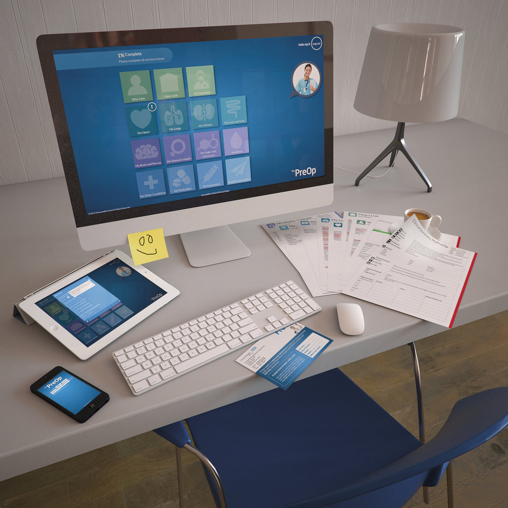 Desk with MyPreOp running on computer, tablet and smartphone