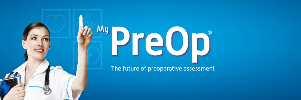 MyPreOp banner with pointing nurse image