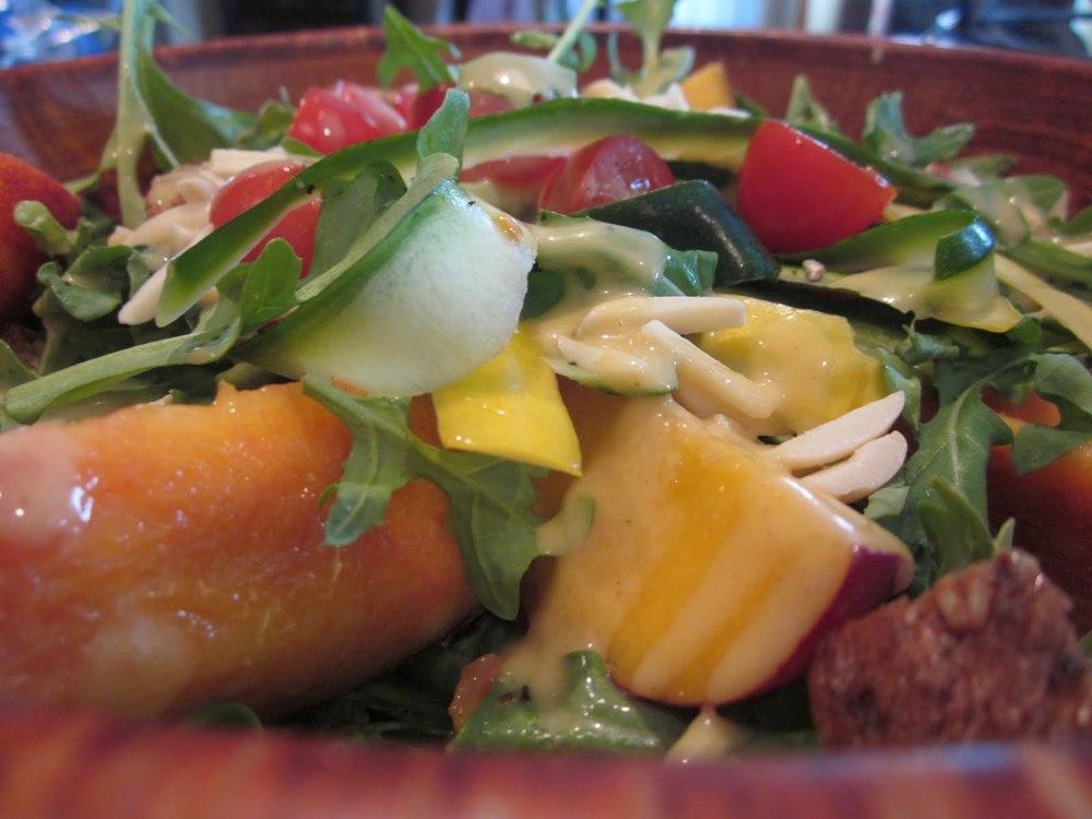 Nectarine Lemon-Honey Vinaigrette Over Arugula