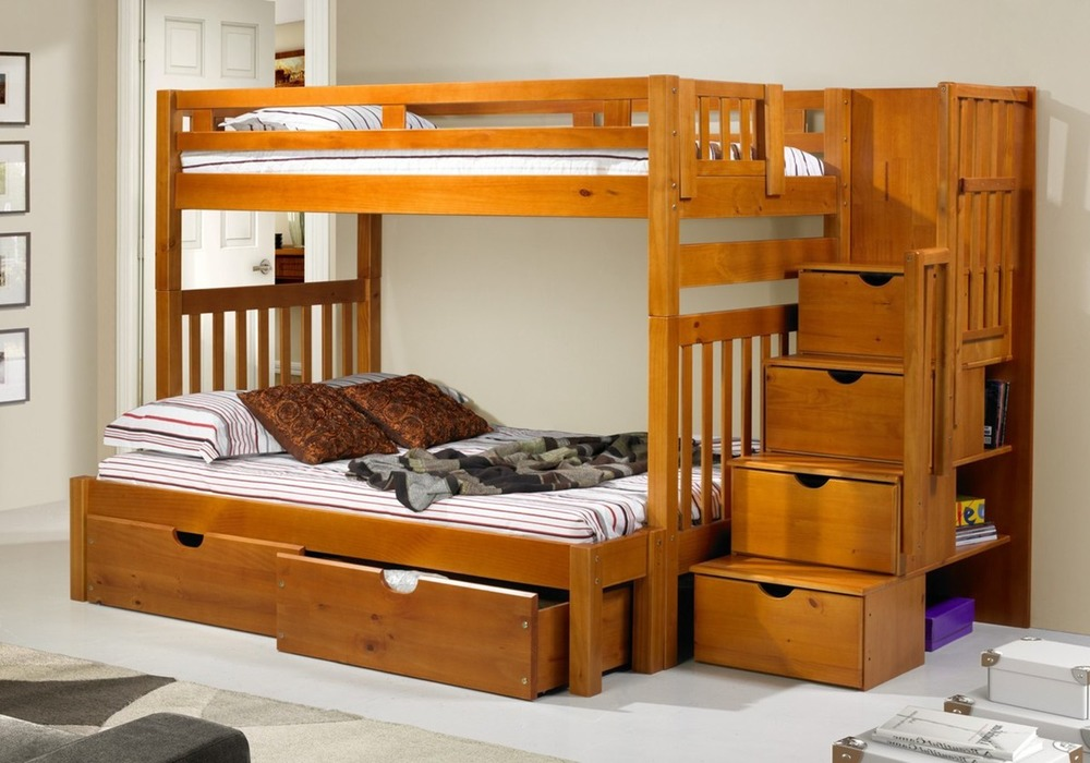 Stairway Bunk with Storage Boxes