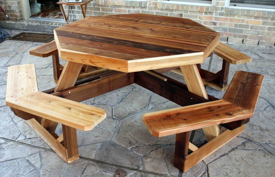patio-furniture-delightful-patio-table-woodworking-plans-with-bench-combo-from-red-cedar-wood-boards-also-textured-flagstone-paving-tiles-and-rustic-brick-wall-panels-945x610.jpg