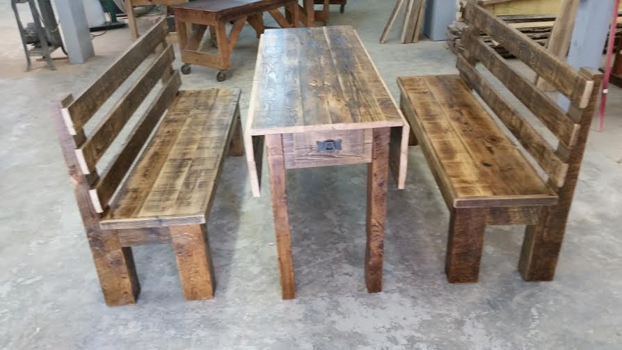 Drop Leaf Table With Benches