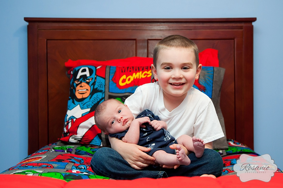 Rosanio Photography | Superhero Room Newborn and Big Brother | New Hampshire Family Photographer
