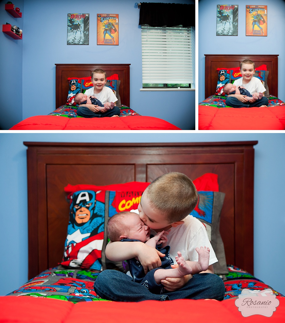 Rosanio Photography | Superhero Room | Newborn and Big Brother | New Hampshire Family Photographer