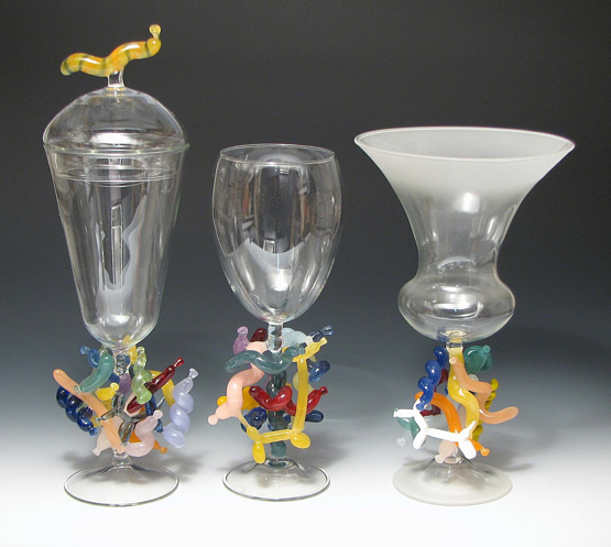 Trio of Balloon Goblets. Tallest, 14.25""