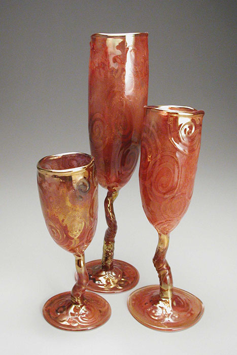 "Red Wabi Goblet Trio; tallest: 11.5"" high x 3.25"" diameter"