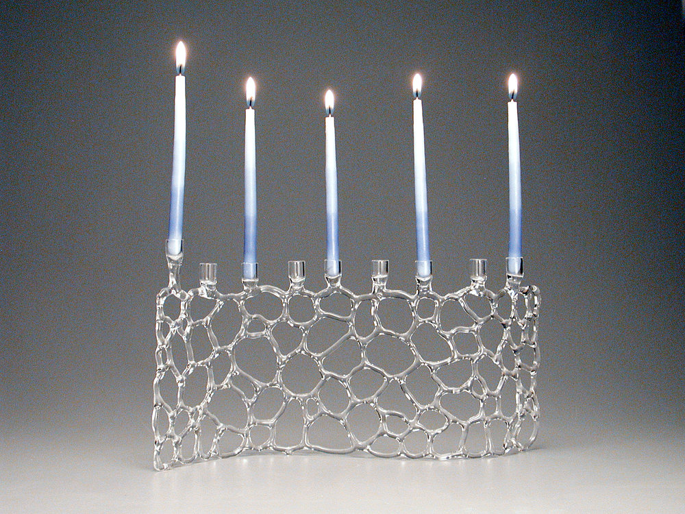 "Abstract Web Menorah, about 6"" tall (without candles)"