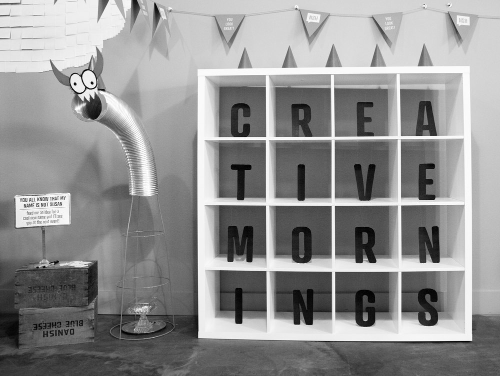 CreativeMornings decor for our 1 yr Birthday Party at The Skillery! March 2015 | Theme: Ink | Photo credit: Michaela M. Powell