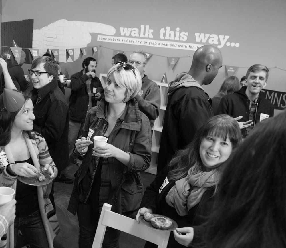 Created Walk This Way post-it note signage at The Skillery | Photo credit: Michaela M. Powell