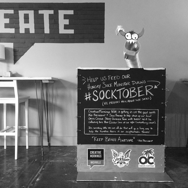 Socktober collection box I created (a sock drive started by Kid President) to go along with our speaker Brad Montague, creator of KP. October 2015