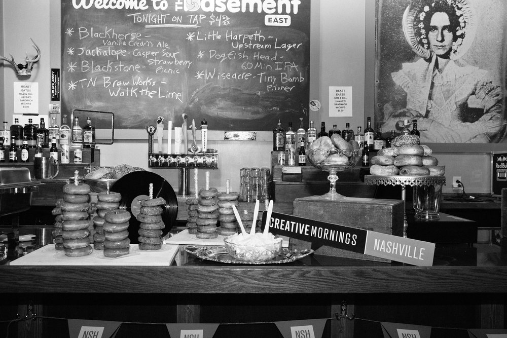Breakfast + decor for our monthly event at The Basement East with Jay Millar of United Record Pressing. June 2015 | Theme: Revolution | Photo credit: Michaela M. Powell