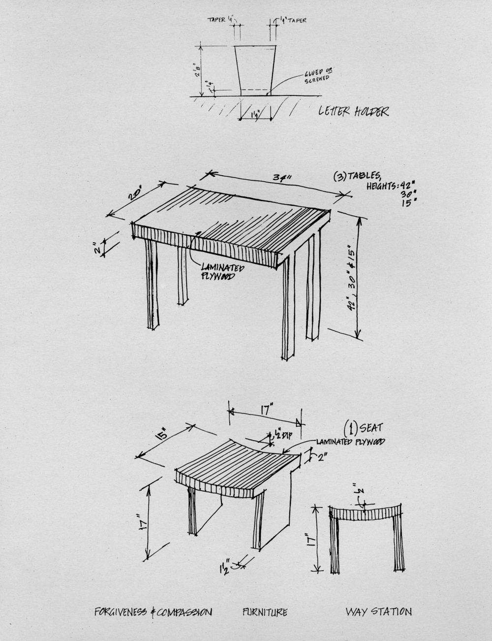 Table, Stool and Letter Holder Sketches