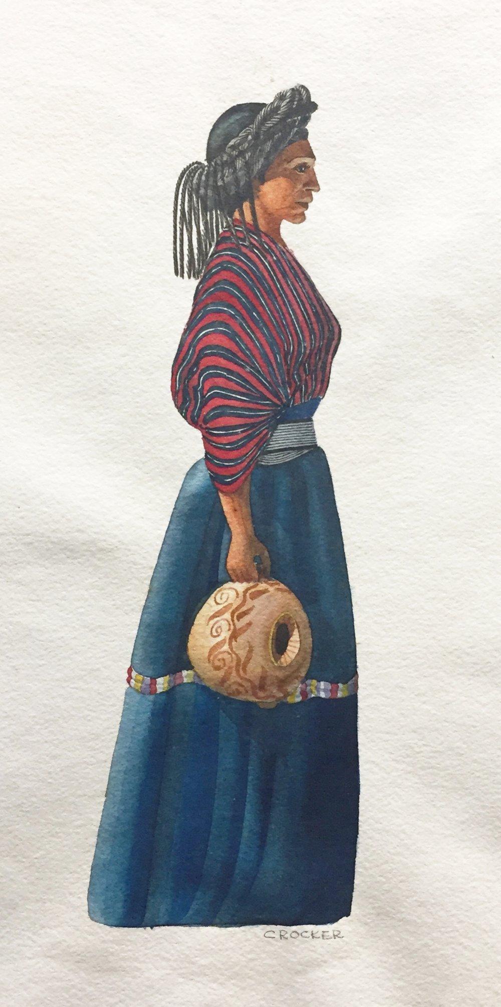 "Frederick ""Pat"" Crocker, Trajes de Guatemala .  Original watercolor painting, Guatemala, 1950s."