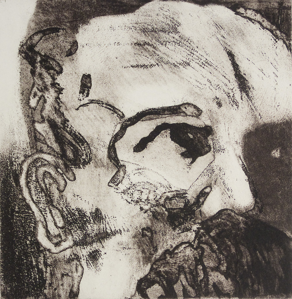 Friedrich Nietzsche, from  Zehn Dichter / Ten Poets.  Etchings by Eckhard Froeschlin, 2012.
