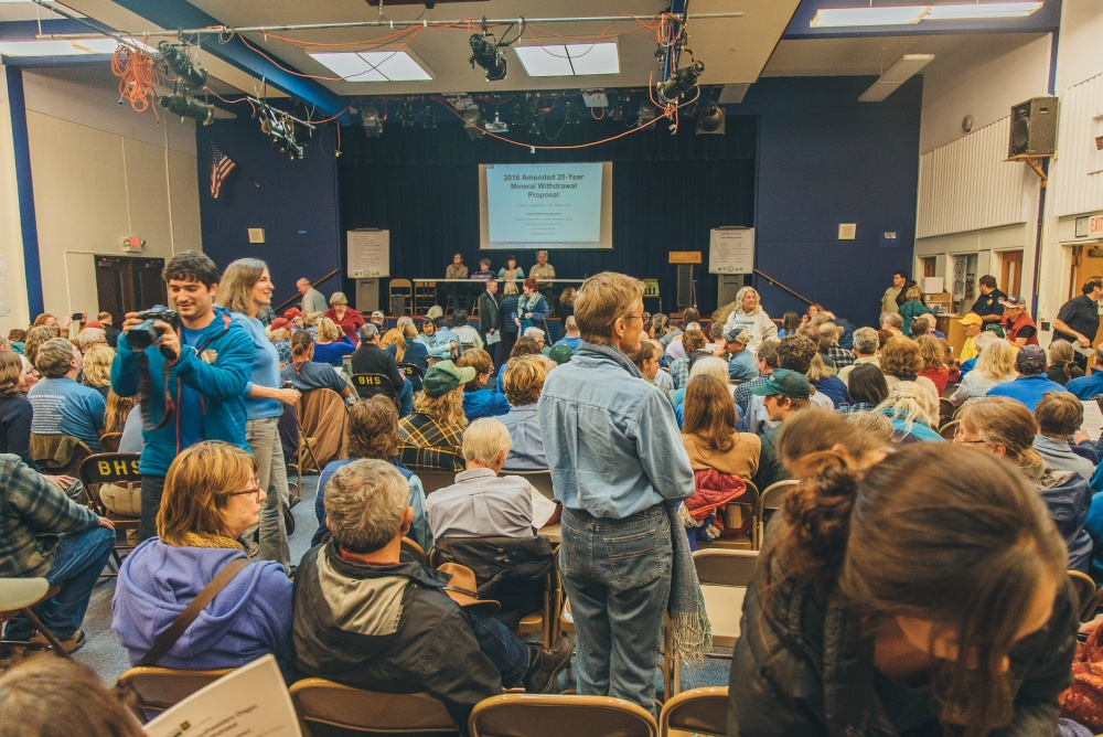 Overwhelming local support for a 20 year mineral withdrawal at a public hearing on Nov. 15th, 2016.  photo courtesy of Nate Wilson Photography