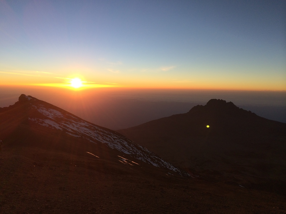 Sunrise, 7 hours into our summit climb