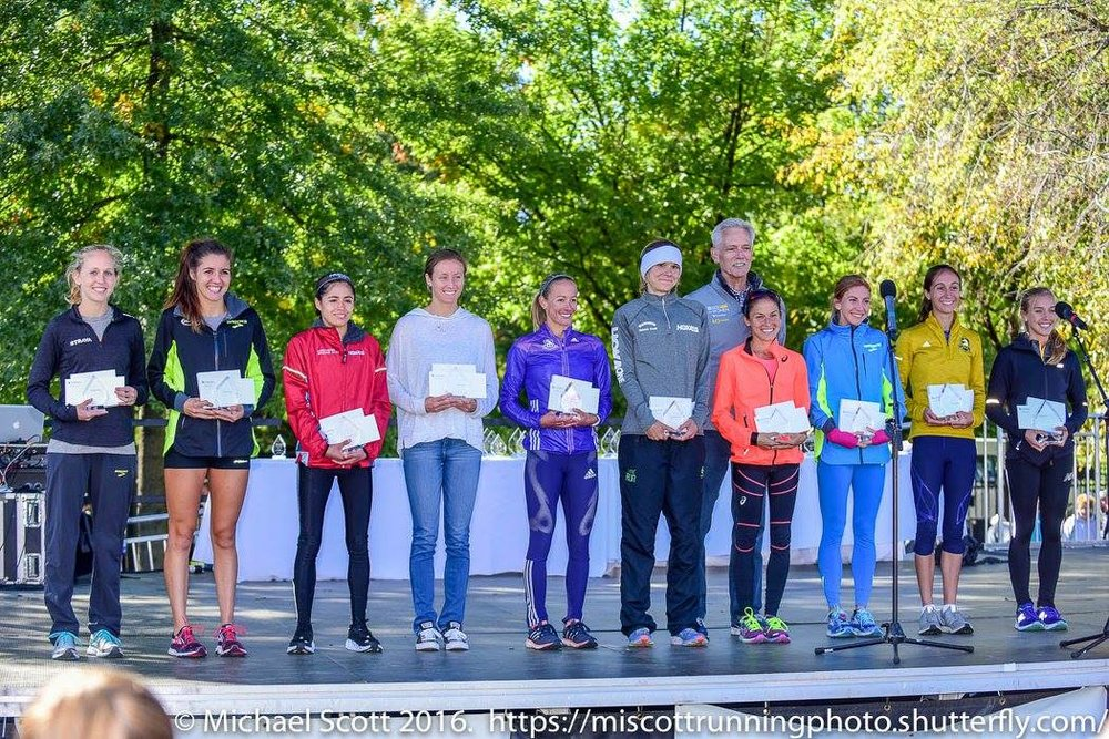 Not winning - that honor goes to my training partner Emily Sisson - here, I'm 10th and happy to be on the podium!