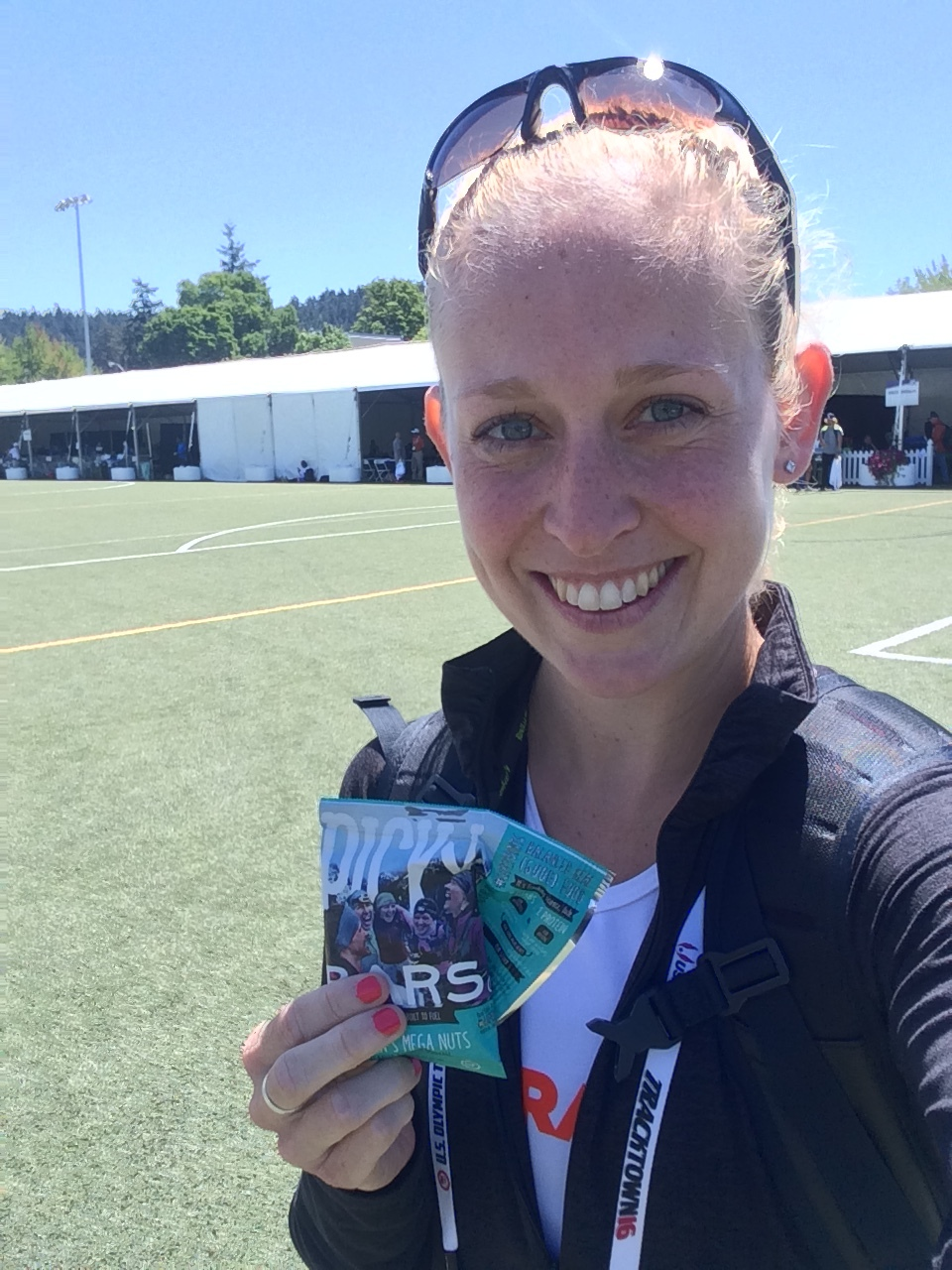 Post-race at the Olympic Trials, refueling with my favorite flavor of Picky Bars!