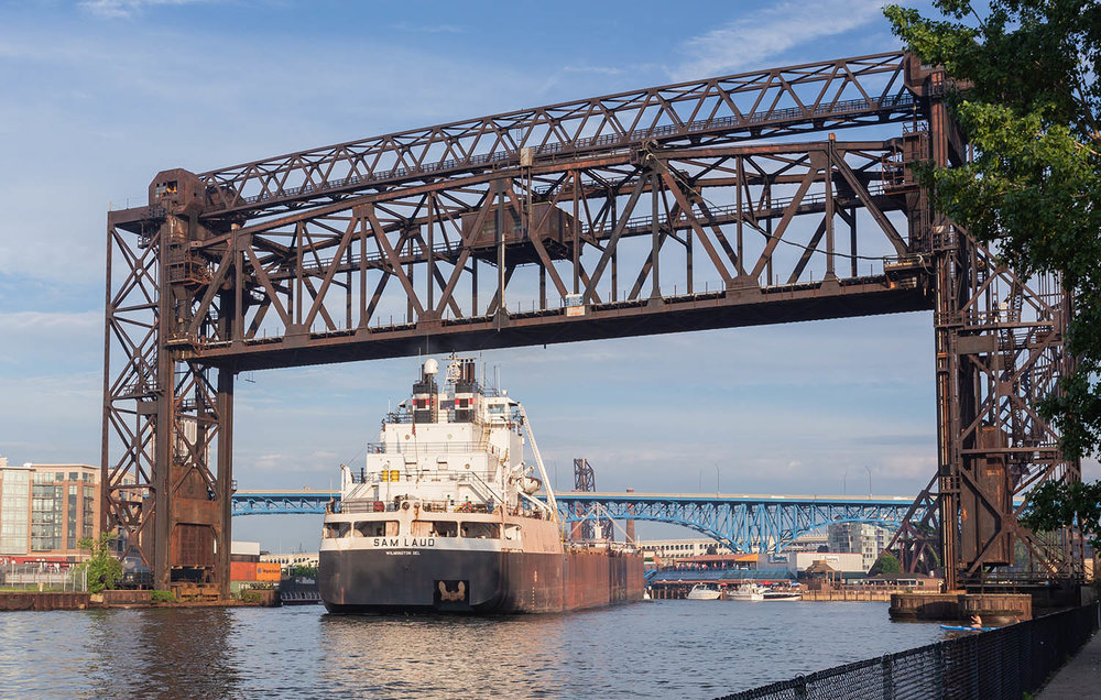 Sam Laud passing under the Norfolk Southern vertical lift bridge as it backs out to Lake Erie.