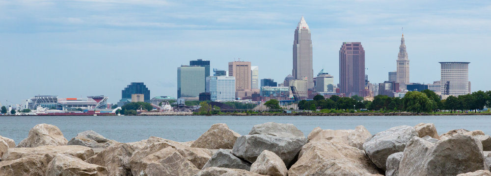 Cleveland skyline from Edgwater Park.