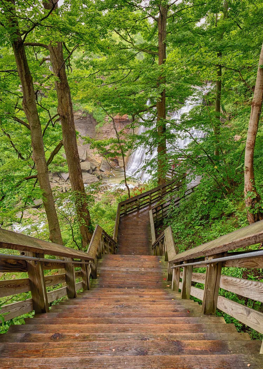 Boardwalk leading down to Brandywine Falls in the Cuyahoga Valley National Park.