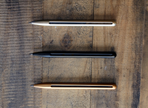 The  Penxo  lead pencil reimagines the conventional mechanical pencil by simplifying its design down to its core elements and function. The main concept behind it: simplicity. With no moving parts, Penxo's brushed metal construction clamps around the lead, which prevents it from sliding out.