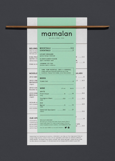 At Mammalian in London, a set of chopsticks is used to hold the food and drinks menu