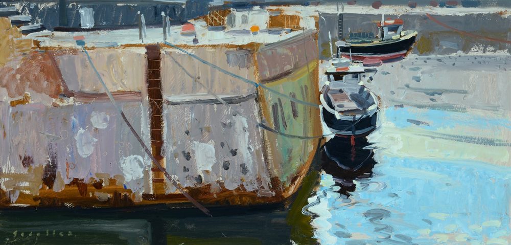"'Scallop Boats, St Monans' 18 x 36 inches is one of three Scouller paintings in the ""Coastlines' exhibition at the Open Eye Gallery till Feb 11 2015"