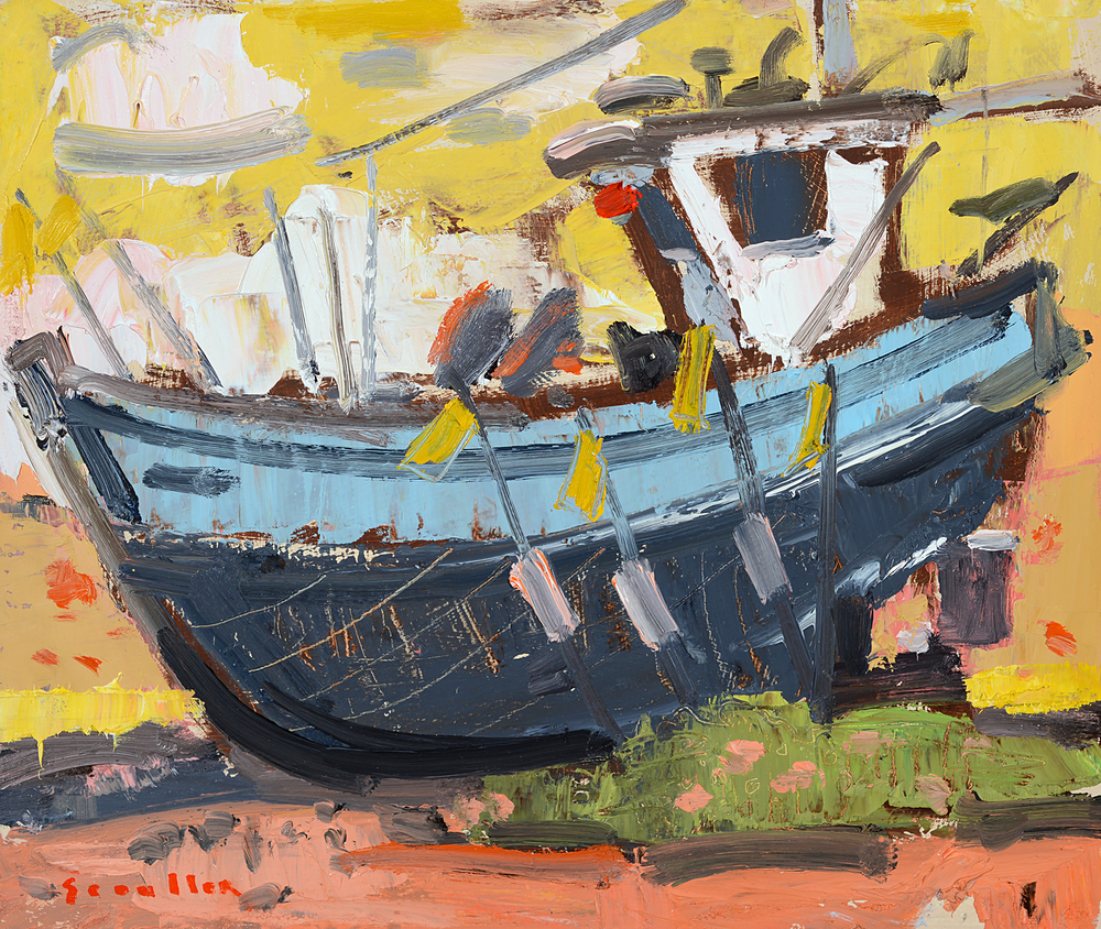 Boats and Markers oil on panel •9 x 12 inches •22 x 30 cms • SOLD