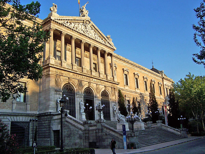 The grandiose exterior of the Biblioteca Nacional, Madrid. Photo courtesy Wikimedia Commons.