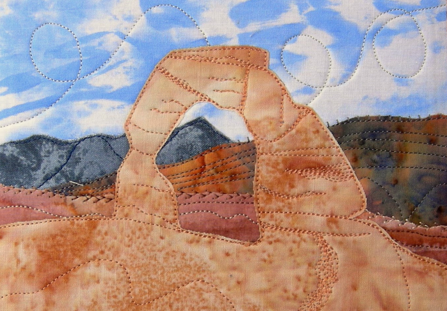 arches national park sewn postcard