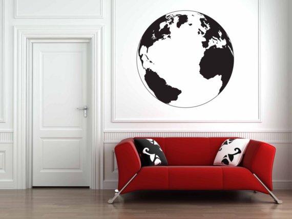 globe silhouette wall decal