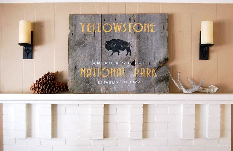 Yellowstone National Park Rustic Sign