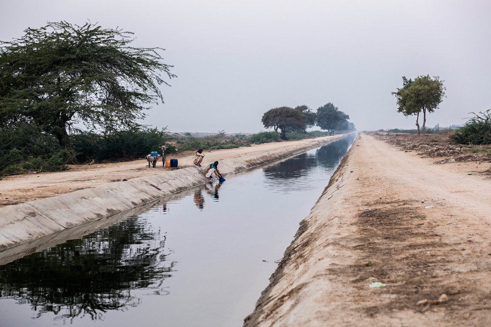 The open canal that carries drinking water from Keenjhar Lake to the city of Karachi.