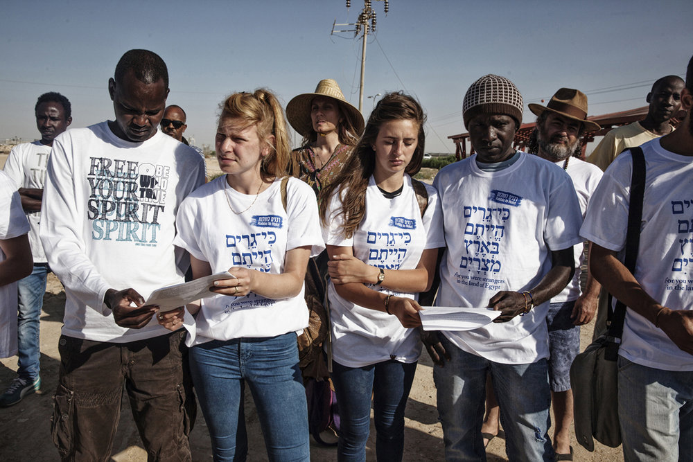 Rabbis for Human Rights, a group of mostly American rabbis from all streams of Judaism held a prayer ceremony at Holot to show solidarity with the refugees.