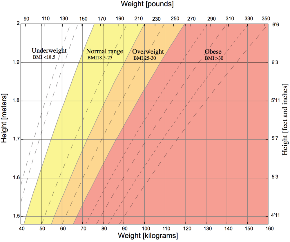 A graph of body mass index as a function of body mass and body height. The dashed lines represent subdivisions within a major class. Source: Wikipedia.