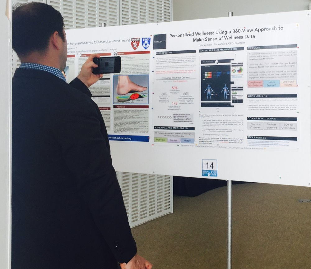 Fitnescity presenting a poster at the  MIT  Healthcare and BioInnovations Conference. Photo at the  MIT Media Lab .