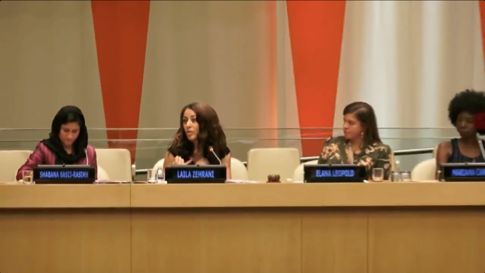 Laila Zemrani presenting at the United Nations