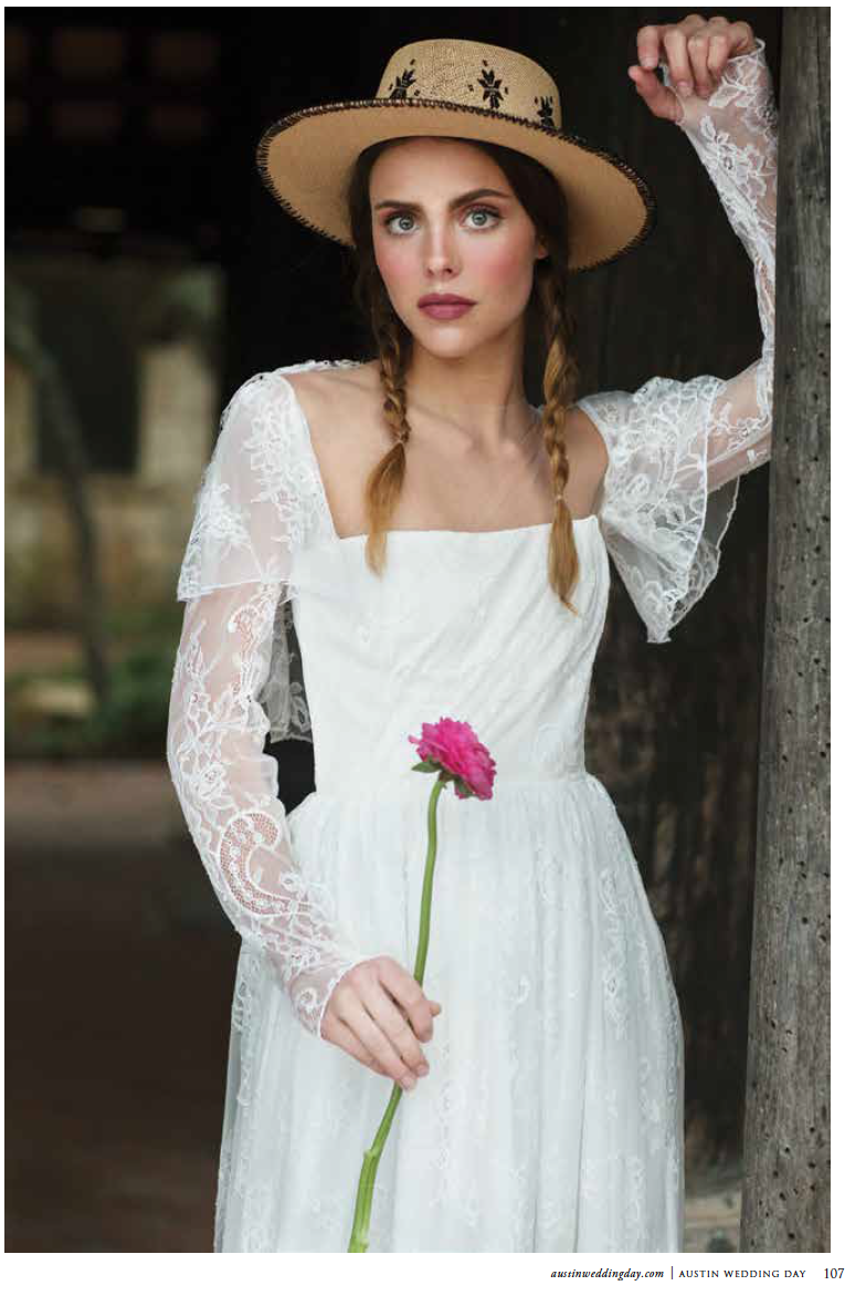 Ellie gown in Fall Winter 2018 issue of  Austin Wedding Day Magazine