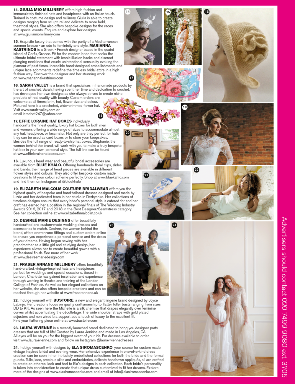 Current Issue January/February 2019 Issue of BRIDES UK page 225 suggestion #20 featuring my Ellie gown