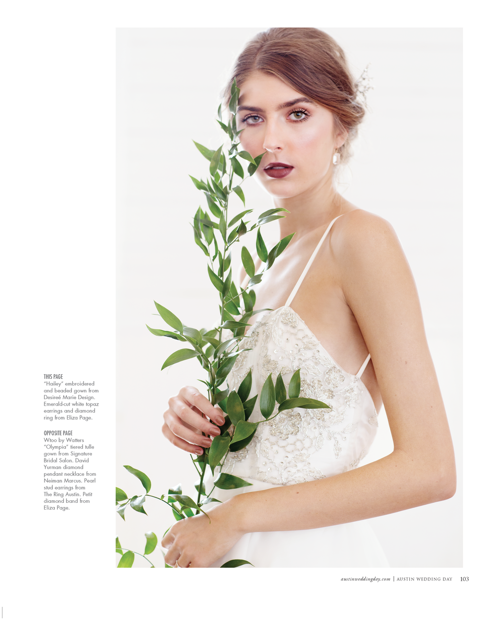 Published in Austin Wedding Day Magazine Jan-Feb 2019 Featuring my Kayla dress