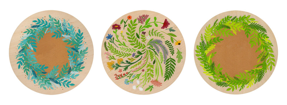 'Winter Mandala', 'Garden Mandala', and 'Jungle Mandala' by Jen Pilles for  In the Round V  at  Graven Feather Gallery  in Toronto