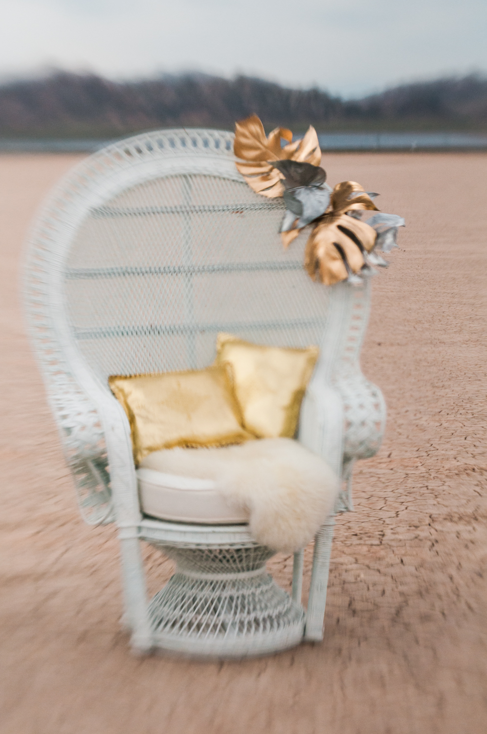 bohemian metallic prop chair in the desert