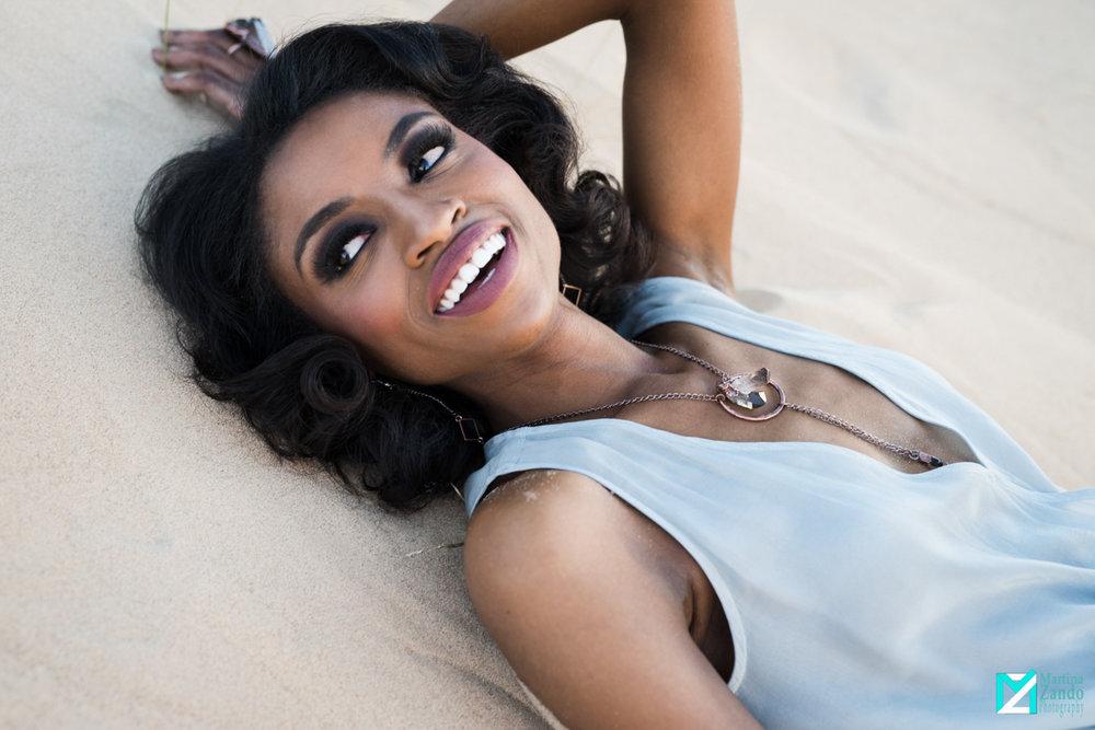 beautiful african american woman desert fashion photoshoot